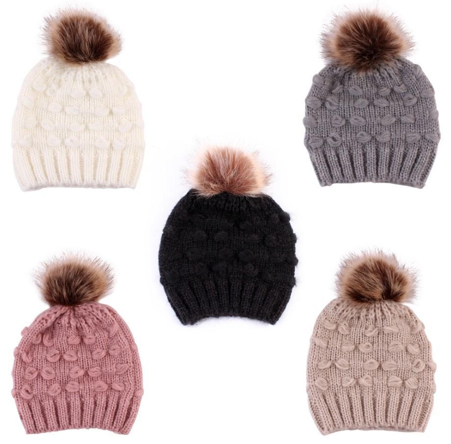 Quente bonito da criança Crianças Chapéus Meninas Baby Boy Inverno Crochet Knit Hat inverno 2020 da marca Beanie Fur Cap Crianças Caps crianças tampas