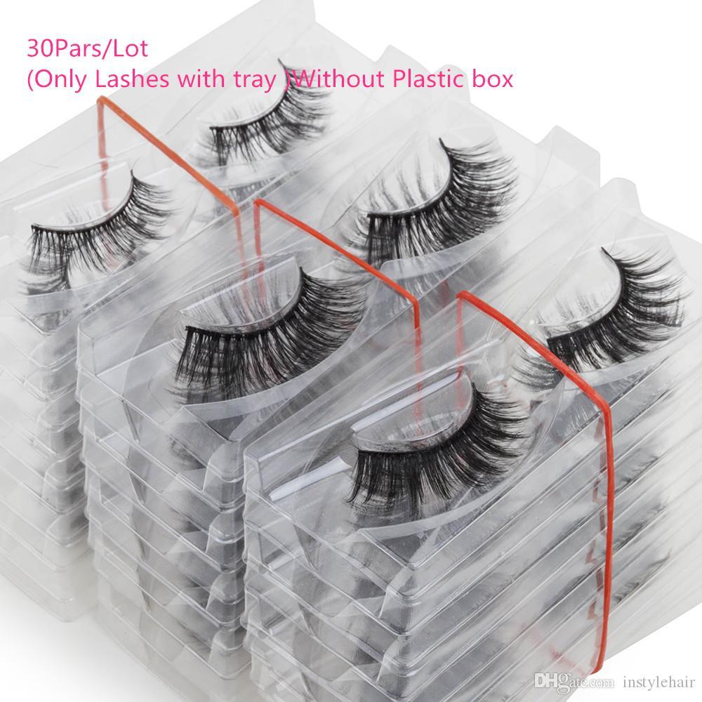 Tepsi Ile 30 Pairs Vizon Kirpik Hiçbir Kutu El Yapımı Doğal Yanlış Kirpik Tam Şerit Lashes Kullanımlık Uzun kirpikler Cruetly Ücretsiz