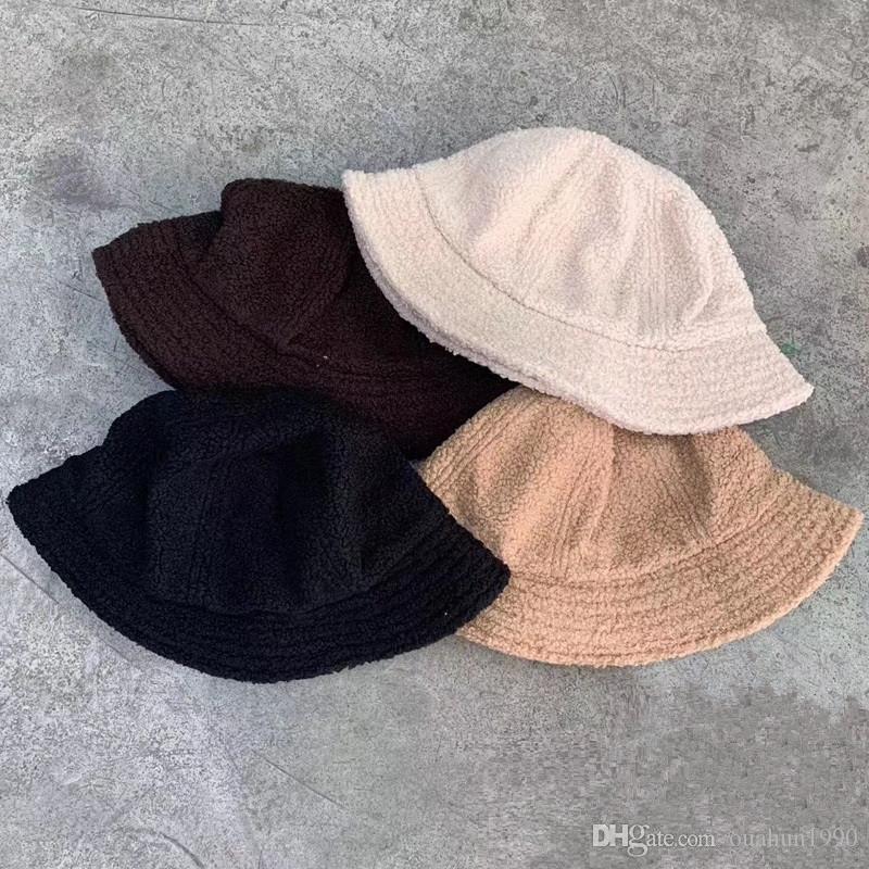 Lambswool furry دلو قبعة النساء الرجال كاب شارع بوب الفراء الصيد القبعات في الصياد قبعات الصيد الهيب هوب المتناثرة بنما البوب شتاء دافئ