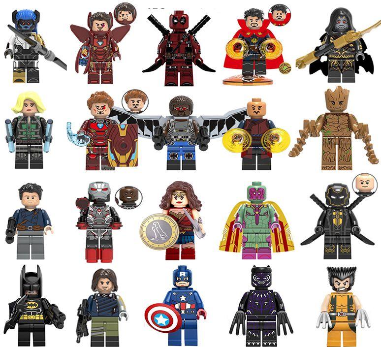 Wholsale Super heroes Mini Figures Marvel Avengers DC Wonder woman Captain Batman Hulk Ironman Spiderman building blocks kids toy gifts