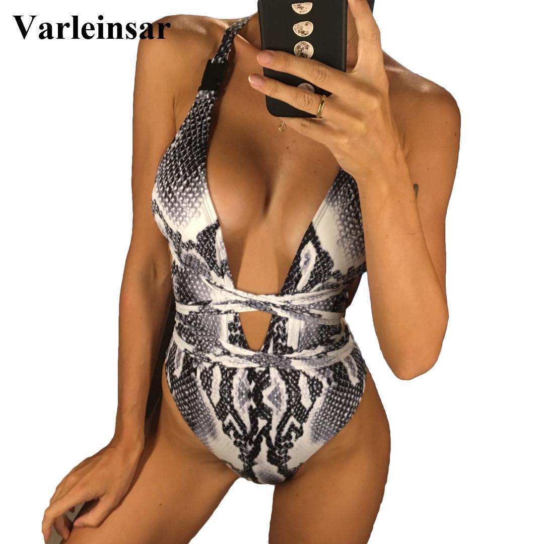 2020 Lange Strap Wrap Around Badeanzug für Frauen Bademode Badeanzug Weibliche Badende Schlange Drucken Badeanzug Strand V852 Y200319