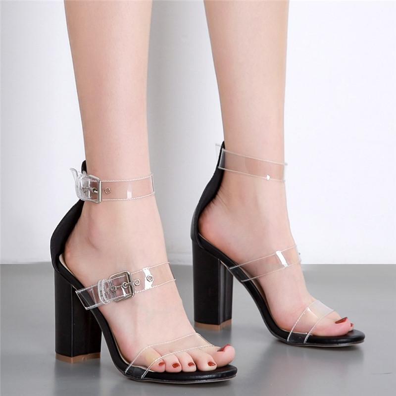 Bloco Limpar Mulheres transparente e aberta Toe Salto Alto Senhoras Novas Sapatos Bombas Plus Size Ankle Strap Heel Sandals Grosso Big Chunky D5