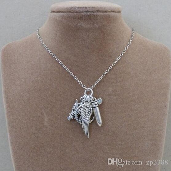 Gothic Hexerei Pentagramm Halskette Flügel Gun Pistole Kugel Kragen Cyberpunk Vintage Silber Halsketten Anhänger Mode Frauen Schmuck