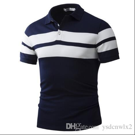 패션 남성 디자이너 T 셔츠 남성 폴로 스트라이프 티셔츠 캐주얼 캐미 소스 남성 티셔츠 럭셔리 칼라 폴로