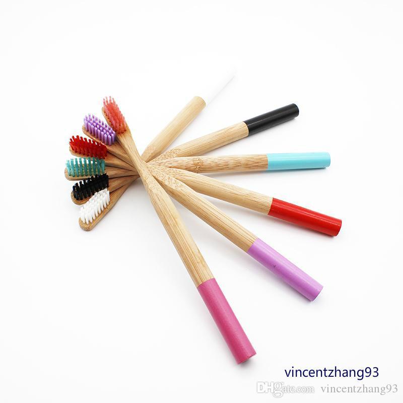 Brosse à dents en bambou arc-en-ciel pour adulte Poignée en bambou ronde Brosse noire Poignée en bois pour adulte Tandenborstel Brosse à dents à faible teneur en carbone