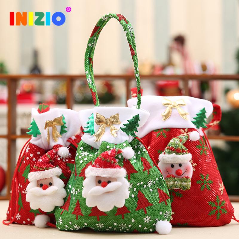 Santa Claus Bag Apple Candy Bag Año Nuevo 2020 Adornos para el árbol de Navidad Navidad Invierno Decoración Muñeco de nieve