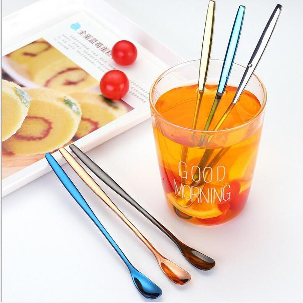 Di spessore cucchiaio in acciaio inossidabile 304 Cucchiaio gelato tè e caffè manico lungo in oro rosa oro Dessert posate da cucina Accessori regalo