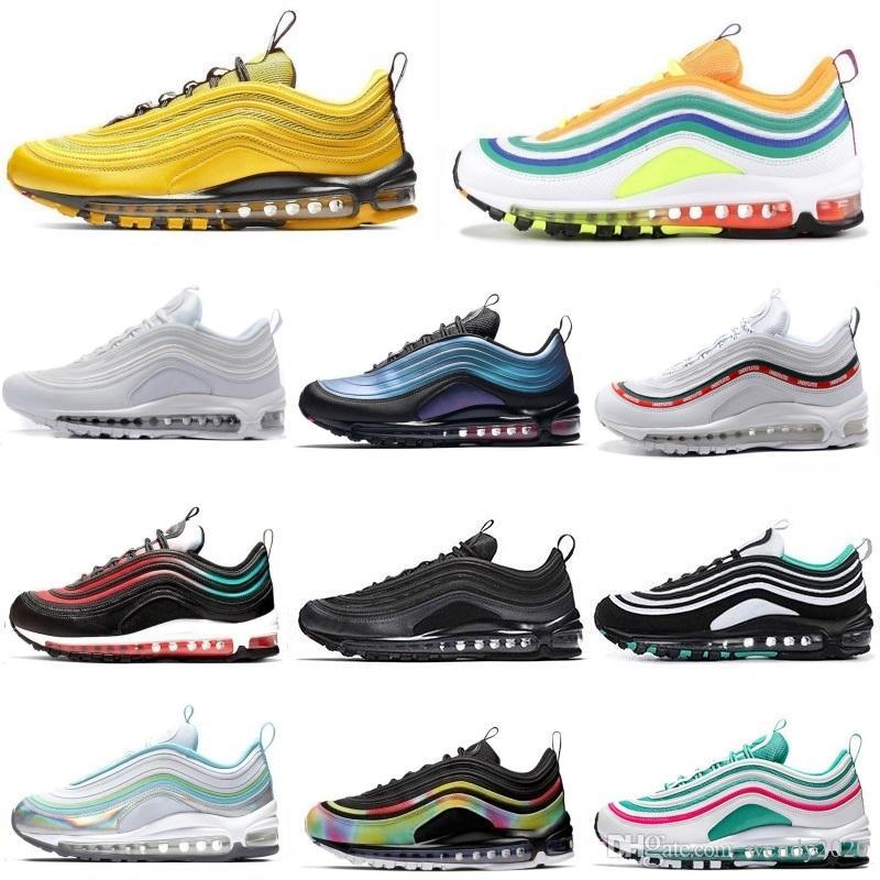 2020 erkek ayakkabı tasarımcısı erkekler kadınlar olağan biçimde çalışan Parlak Citron Sunburst Siyah Beyaz Gümüş mermi chaussures spor ayakkabılarını yenilmez