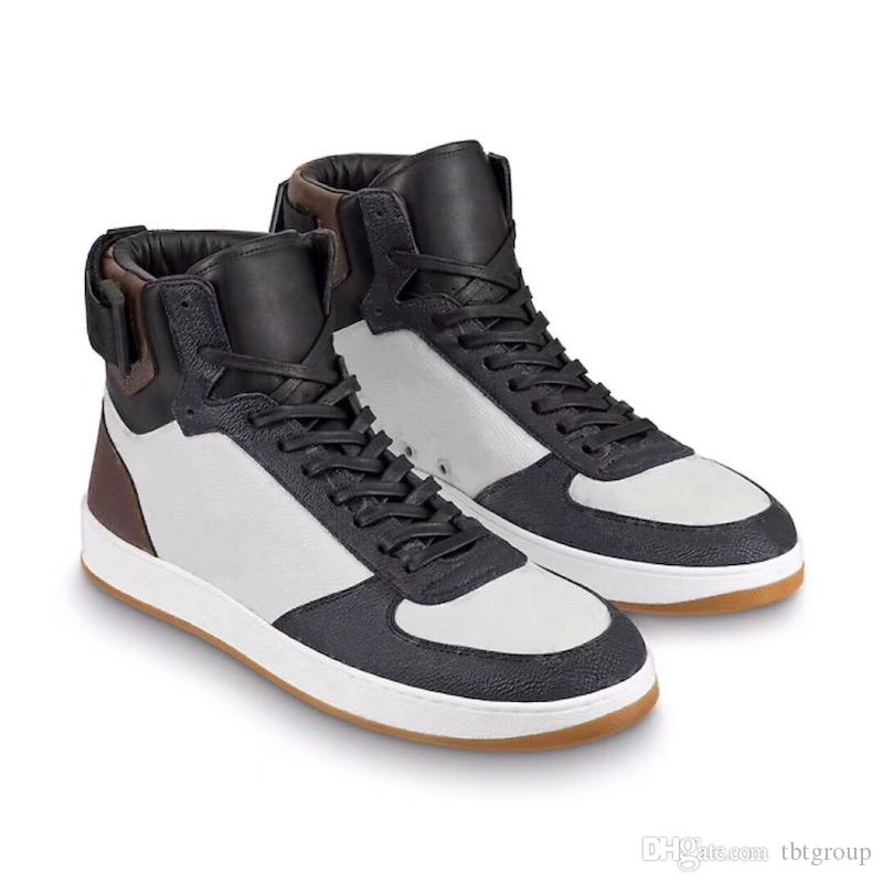 Mens botas de grife rivoli trainer boot arco-íris High Top Sneakers mulheres formadores 100% real de Couro Do Vintage Trainer 12 cores