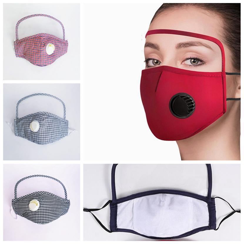 قناع الوجه الجديد مع العين درع قابلة لإعادة الاستخدام قابل للغسل صمام قناع أقنعة القطن مكافحة الغبار واقية للوجه تنفس HHA1407