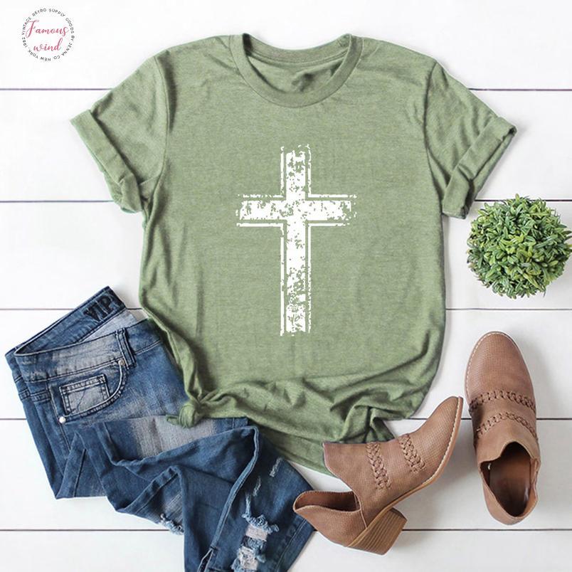 2019 Moda de Nova mulheres camiseta de manga curta no verão Jesus vintage camisetas Cruz cristã Imprimir Tops Feminino Camiseta Plus Size