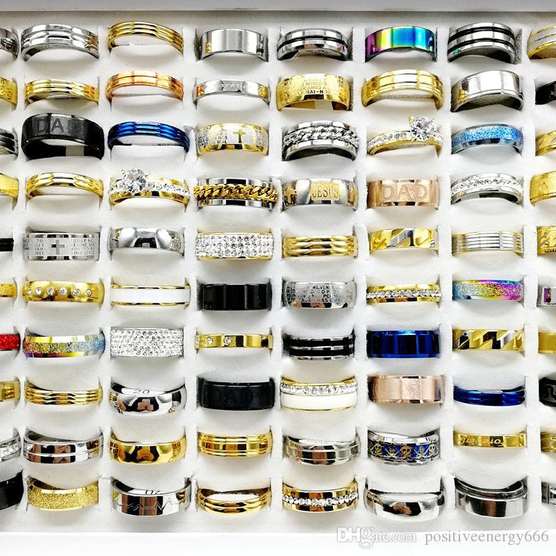 최신 30PCS / 많은 믹스 스타일 스테인레스 스틸 반지 금속 티타늄 손가락 밴드에 맞게 남성과 여성의 패션 파티 참여 선물의 매력 쥬얼리