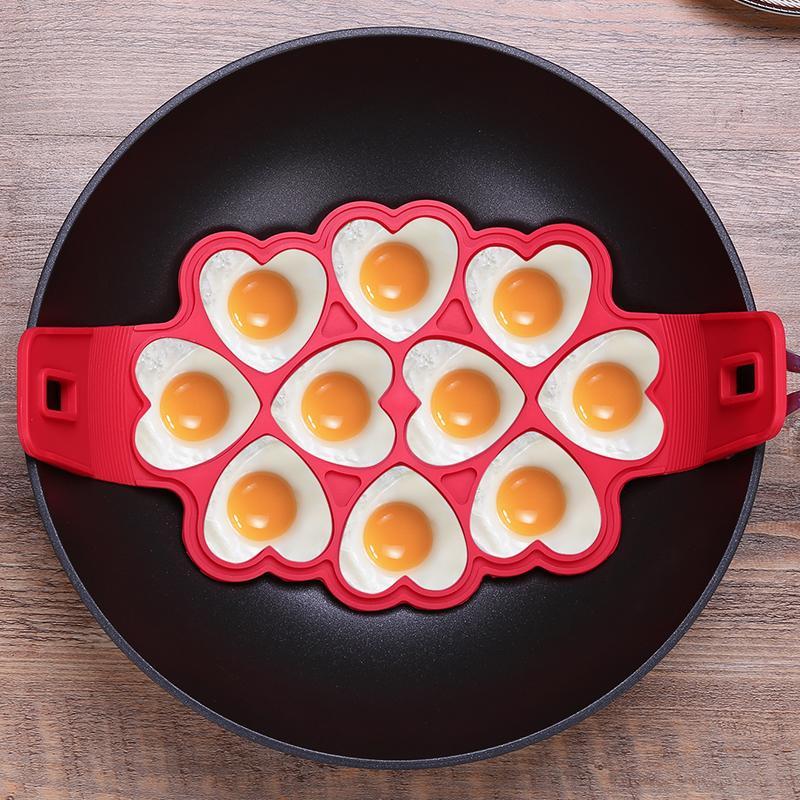 10 löcher nonstick pfannkuchen maker silikon braten ei werkzeugform herz blume form pfannkuchenform für diy backen kochen