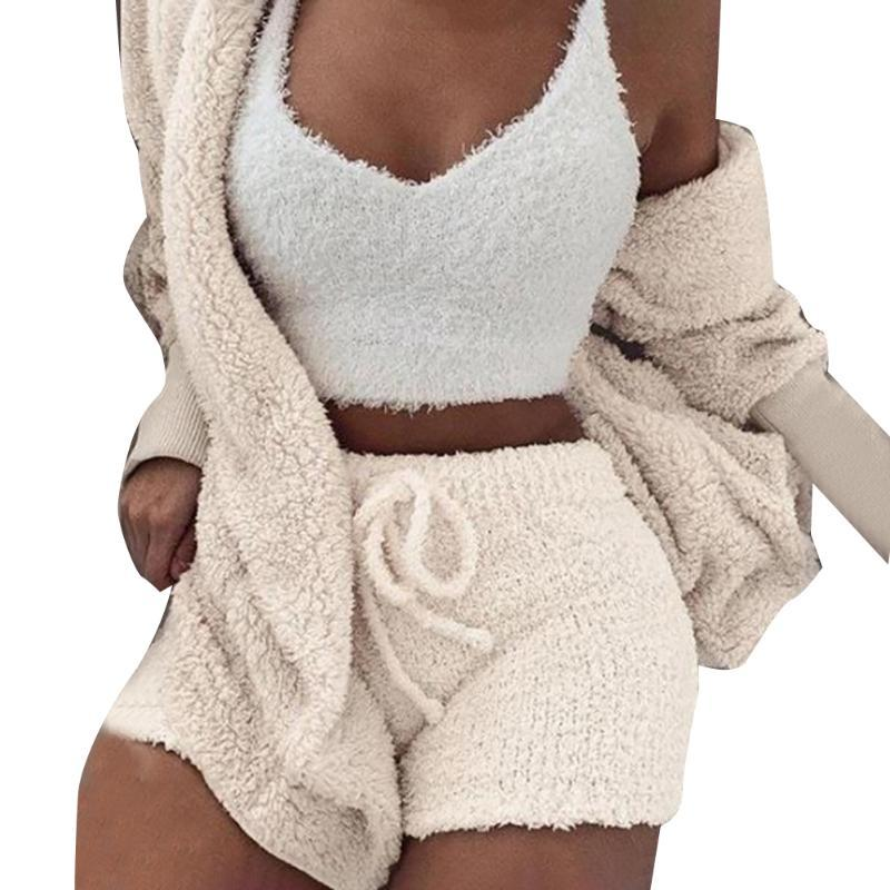 Women Home Short Pant Long Sleeve Sleeping Soft Polyester Sexy Vest Casual Pajamas Three-piece Set Cardigan Blouse Winter Plush