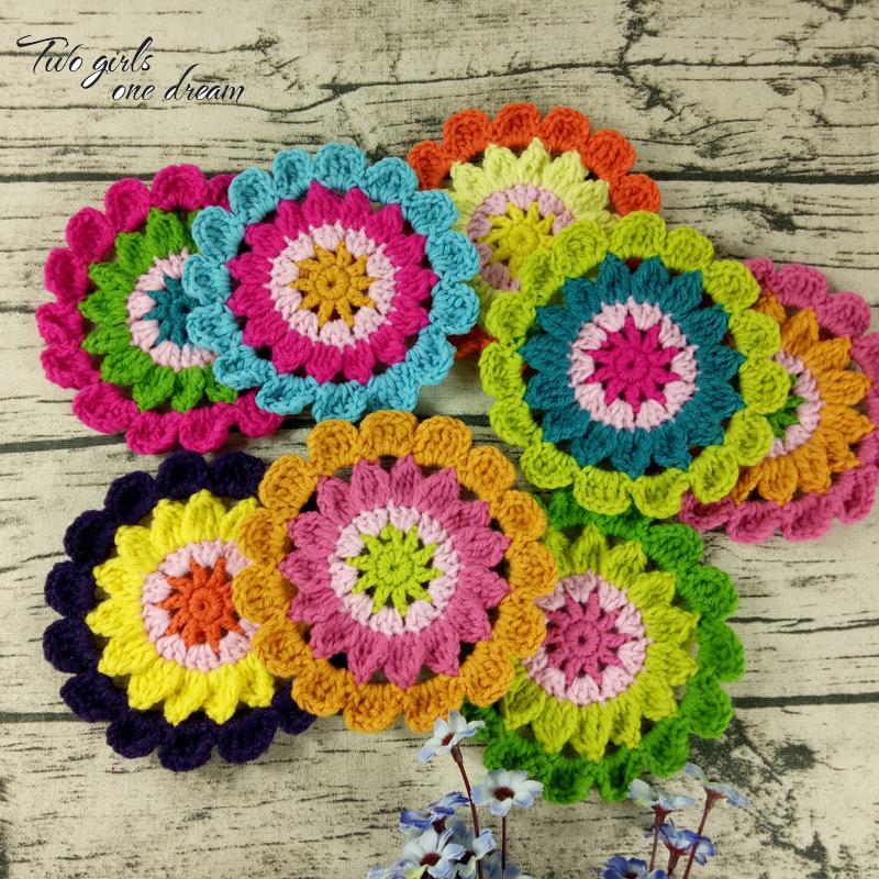 Original DIY Hand Crochet Mats Pads Colors Round Coaster 14cm Wedding Table Decor Doilies Clothes Wool Accessories Patch 30pcs/ D19010902