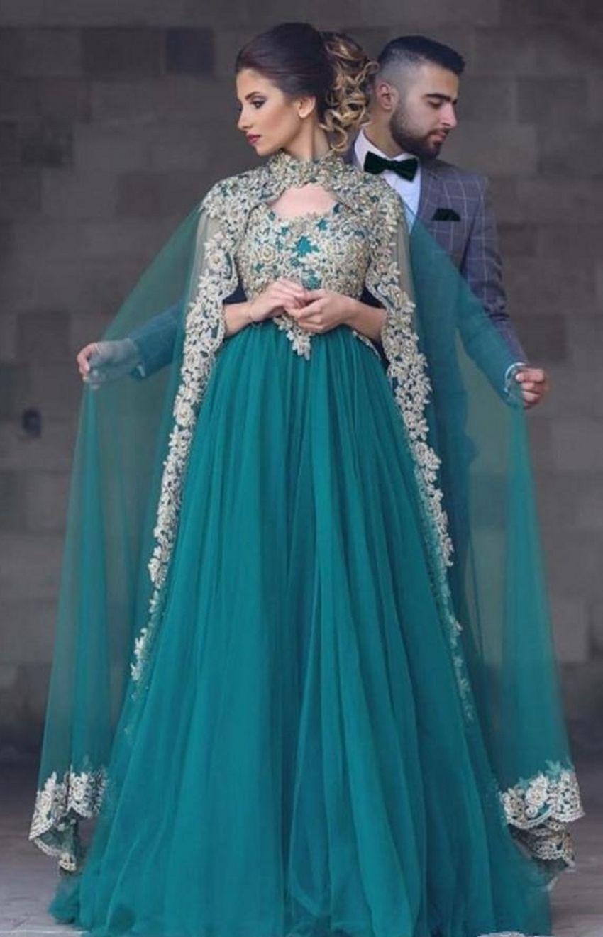 مخصص رائع تيل تول العربية فساتين سهره مع جميلة الياقة الرباط يزين العليا يلف أثواب رسمية