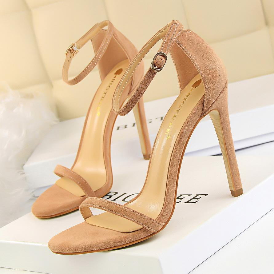 Женщины сандалии лодыжки ремень сандалии лето Гладиатор Обувь женщина шпильках для женщин с открытым мыском партии платье Сандал