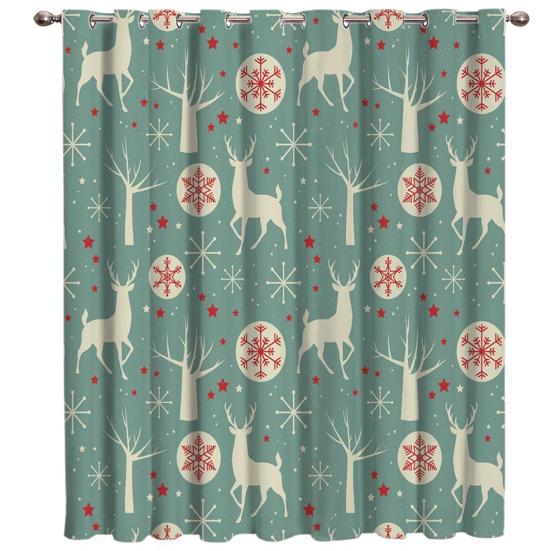 2019 Green Christmas Elk Window Curtains Dark Living Room Bathroom Blackout Curtains Fabric Indoor Floral Decor Window Treatment From Aozhouqie