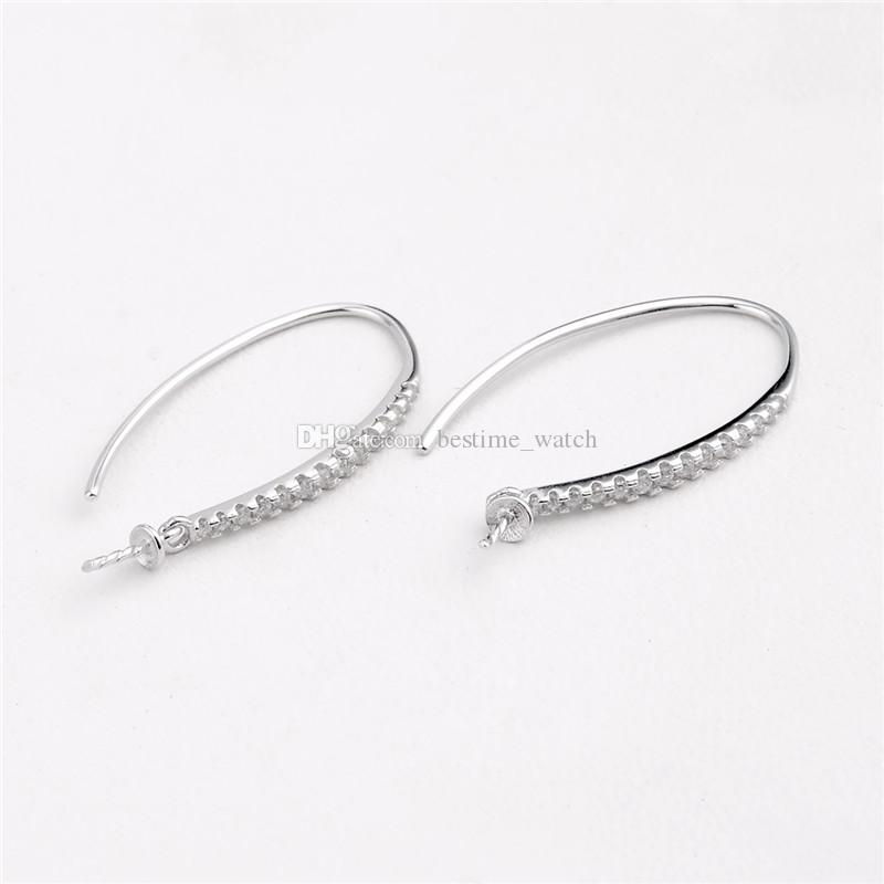 HOPEARL Jewelry Earwire Findings 925 Sterling Silver Hook Pearl Drop Earrings Semi Mounting Cubic Zirconia 3 Pairs