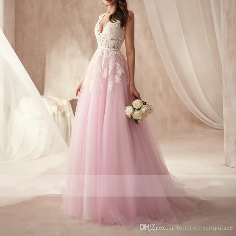 2019 Beautiful Pink Tulle A Line Prom Dresses Custom Floor Length Backless Evening Gowns White Lace V Neck Plus Size Party/Cocktail Dress