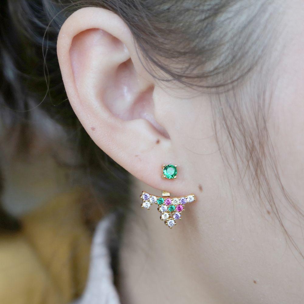 녹색 cz 패션 boho 팬 보석과 세련된 화살촉 귀걸이 골드 컬러 마이크로 포장 된 무지개 눈부신 입방 지르콘 screwback