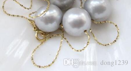 """Envío gratis noble 18 """"14k cadena de oro + 9-10mm natural redondo gris collar de perlas de agua dulce"""