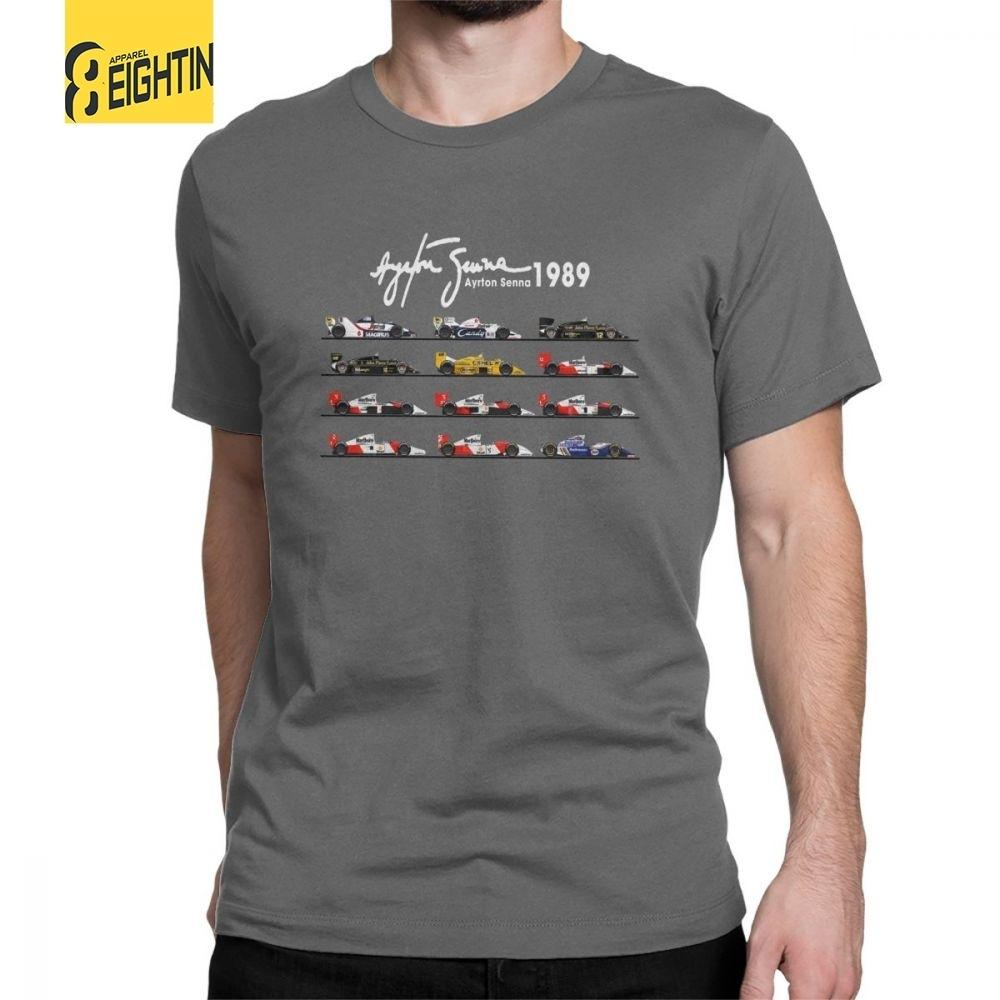 رجل كل السيارات آيتون سينا الفورمولا 1 سباق السيارات F1 تي شيرت طاقم الرقبة قصيرة الأكمام قمم القطن الخالص تي شيرت الصيف تي شيرت Y190509