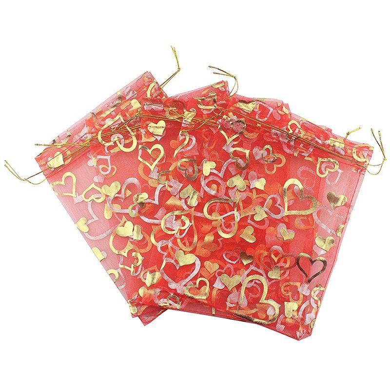Красные подружки ювелирных изделий сердца свадебные чешники чехол 9x12 см сумки 100 мешков пакеты конфеты органза органза подарок PCS напечатаны RBXBW DVEIH