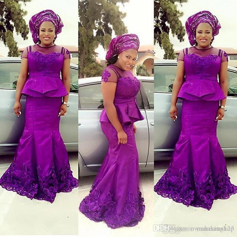 ASO EBI African Black Girls Plus Size Purple Mermaid Evening Dresses with Peplum Sheer Neck Cap Sleeve Long Party Gowns Formal Dress