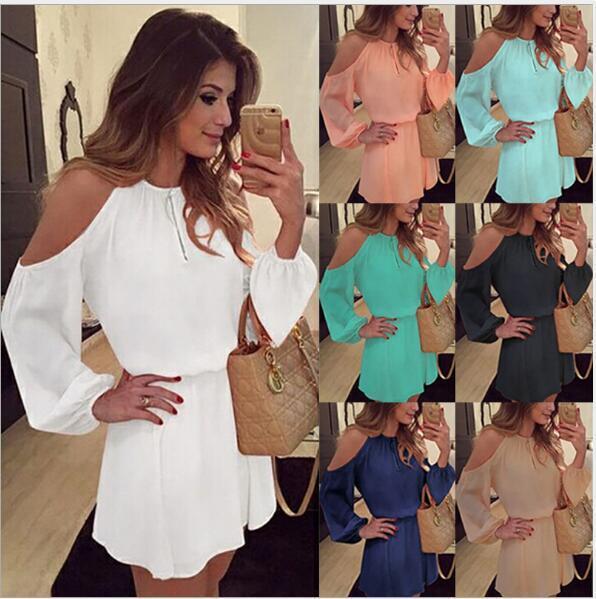 Chiffon strapless strap vestido de mangas compridas casual vestido vestido cor sólida