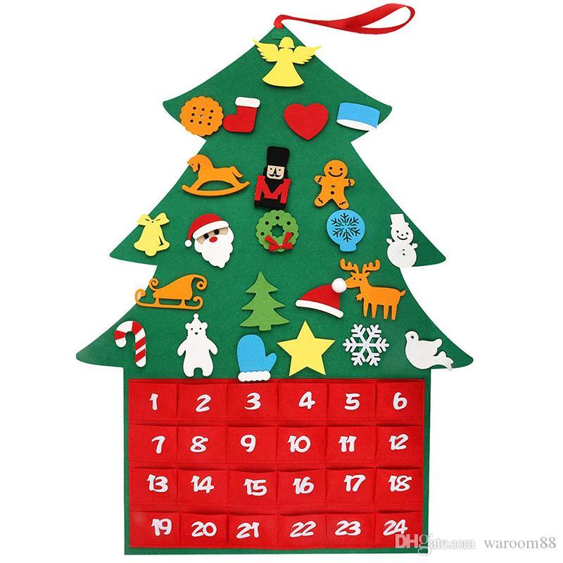 크리스마스 카운트 다운 달력 크리스마스 트리 모양의 달력 펜던트와 포켓 크리스마스 홈 오피스 DIY 장식 선물