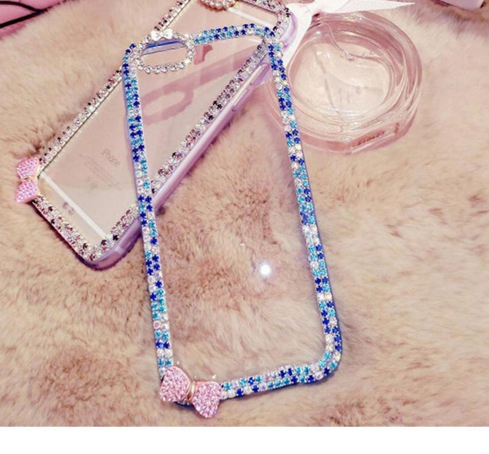 Bling Diamond Strass Étui Côté Téléphone Souple Pour Samsung Galaxy S5 S6 S7 S8 S9 Plus Note 9 De Protection Couverture Arrière