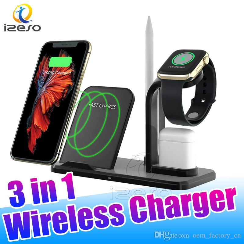 3 in 1 10W Qi Wireless Charger Dock Station Fast Charging Stand for AirPods 2 Apple Watch Chargers with Retail Packaging izeso