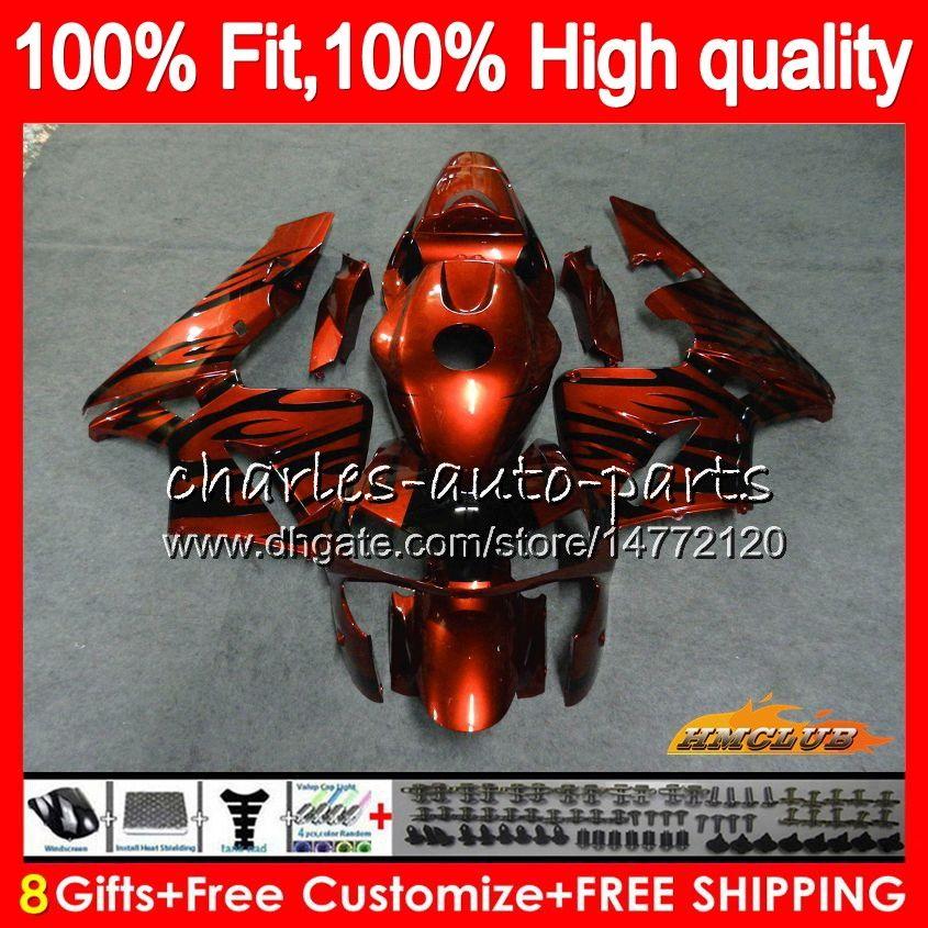 Inyección ajuste del 100% para HONDA CBR600RR CBR600F5 CBR600 RR 2005 llamas de color naranja 80HC.307 CBR 600 RR 600RR F5 kit 600F5 05 2006 05 06 OEM carenado