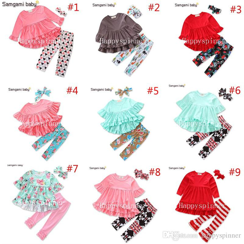 Samgamibaby Spring and Autumn Girls Suit Irregular Tops + Green Flower Pants + Headwear Clothing Sets