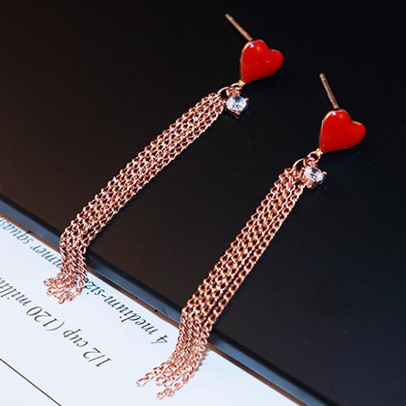 Coreano Coração Vermelho brincos de cristal de zircão Pedrinhas Rose banhado a ouro cadeia de borla Gota Dangle Brincos para Mulheres Festival Longo Jóias