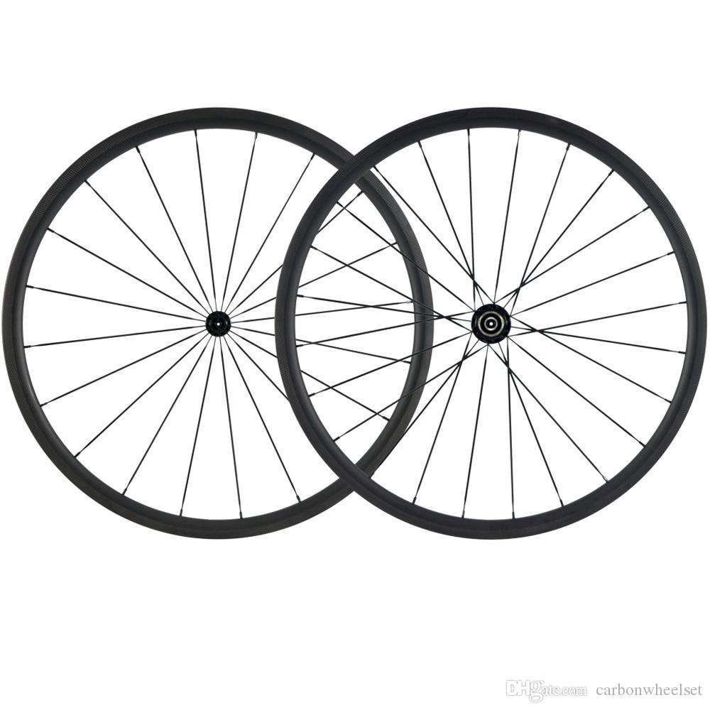 700C Carbon Ciclismo Ruote 30 millimetri 3k freno Superficie rotelle strada del carbonio della bicicletta Ruote Con Nero R13 Hub 25 millimetri Ruote