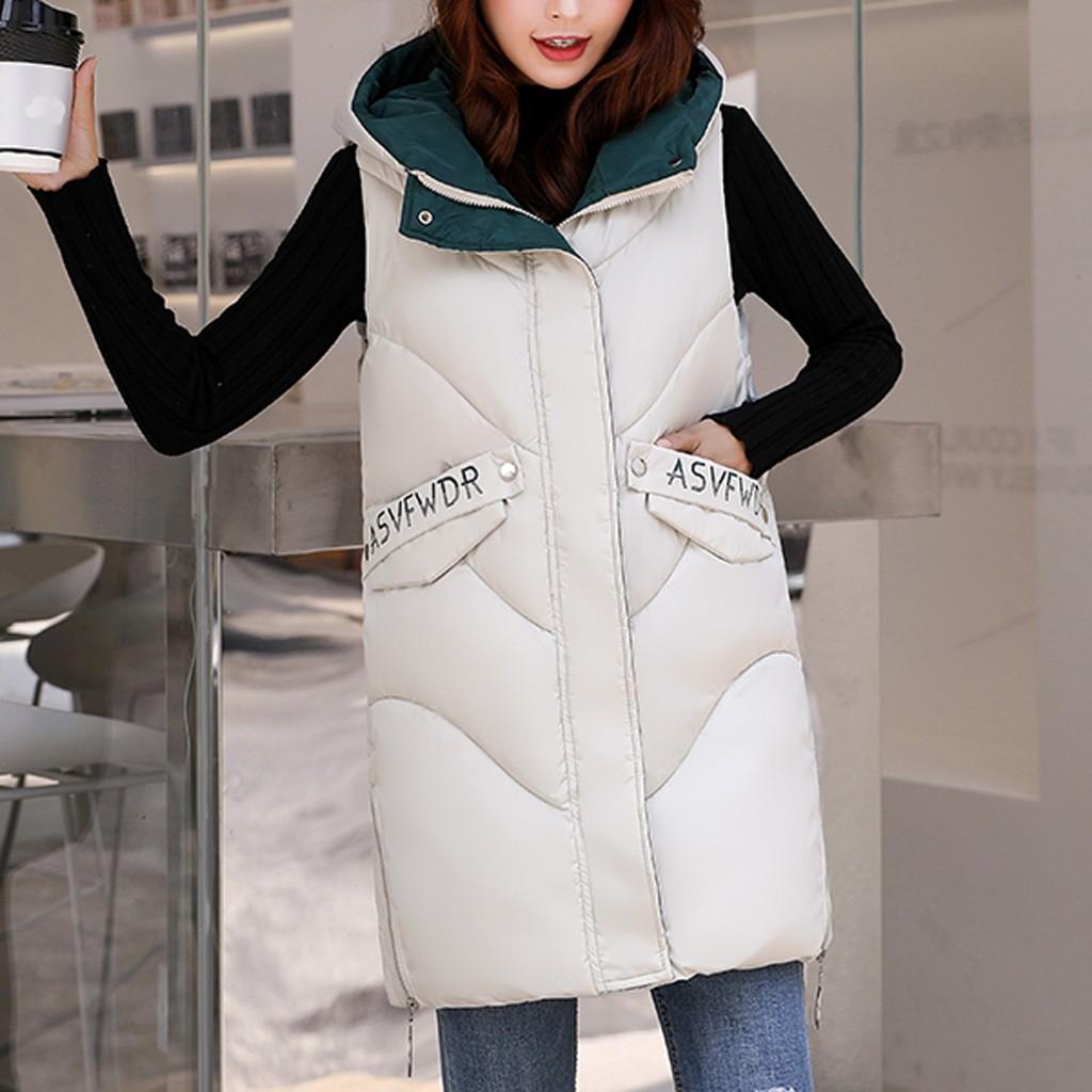 Womens Sleeveless Long Loose Hooded fur Outwear Winter Vest Coats Waistcoat
