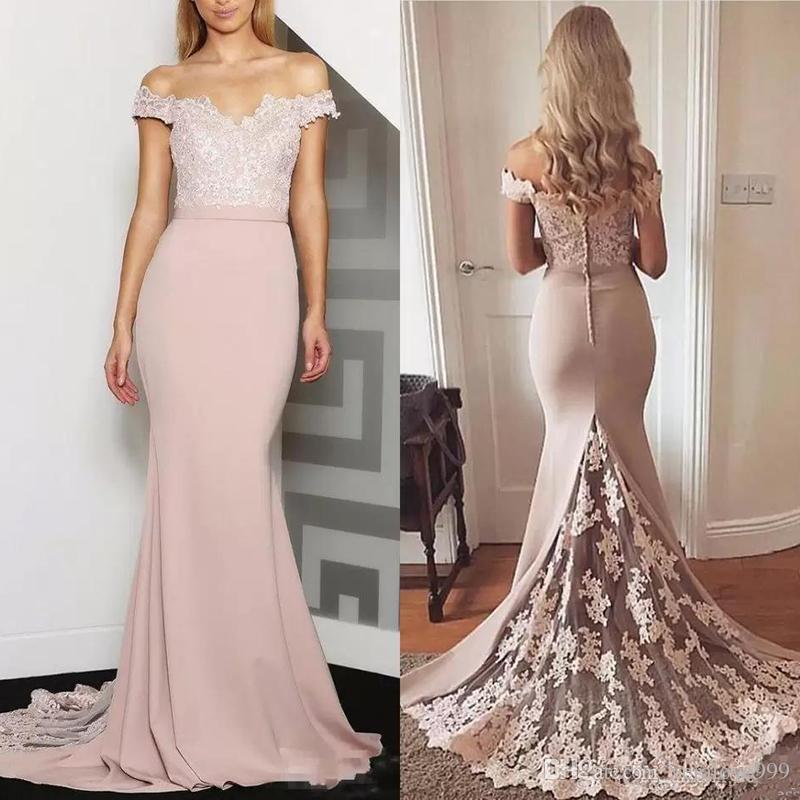 2019 오프 어깨 인어 신부 들러리 드레스 레이스 Appiques 플러스 크기 공식 메이드 명예 드레스 맞춤형 온라인 Vestidos 드 들러리