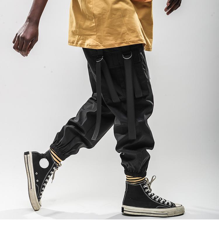 Januraysnow Harajuku Pant Corredores Homens Hip Hip calças cargo Pockets Ganhos da fita Sweatpant Streetwear Primavera-Verão trilha Calças Hipster