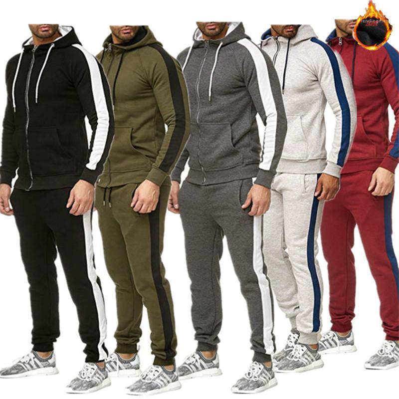 Костюмы мода панелями тонкий кардиган спортивные костюмы повседневные мужские толстые костюмы с капюшоном мужские дизайнерские 2 шт.