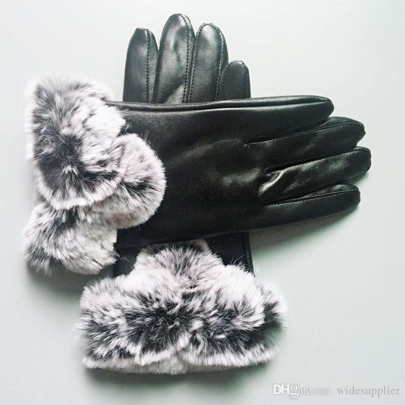 23CM * 10CM أسود قفازات جلدية مصمم العلامة التجارية قفازات النساء الرجال في فصل الشتاء قفازات دافئة فاخر يغطي خمسة أصابع