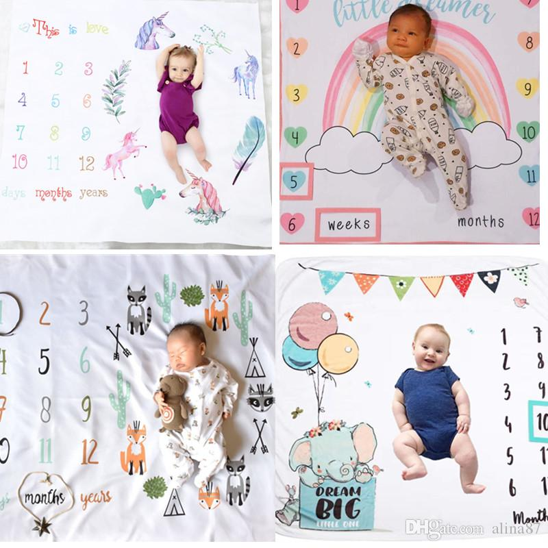 Monthly Blanket Newborn Baby Boys Girls Blanket Photography Photo Props Blanket