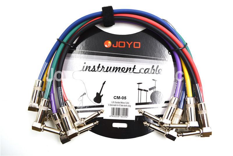 6 Paketi Joyo Renkli 1.2FT Metal 1/4 Dik Açı Elektro Gitar Efekt Pedal Patch Cord Kablolar Ücretsiz Kargo