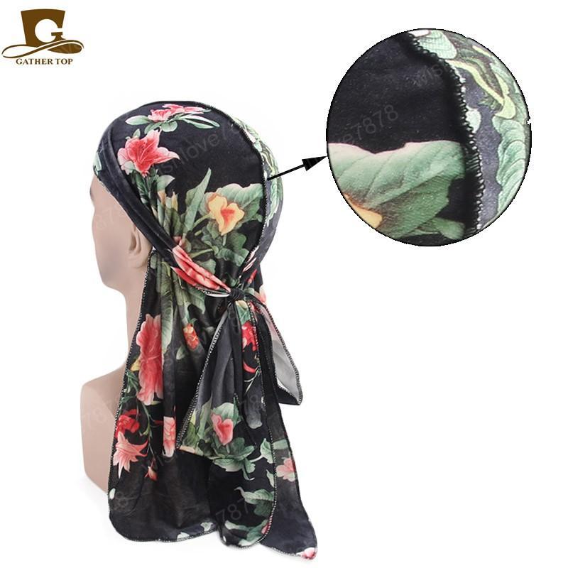 Yumuşak Kadife çiçeği baskı Du Rag Premium durag bandanas doo bez Turban Kafa Uzun Kuyruk Geniş sapanlar Erkekler Saç Aksesuarları