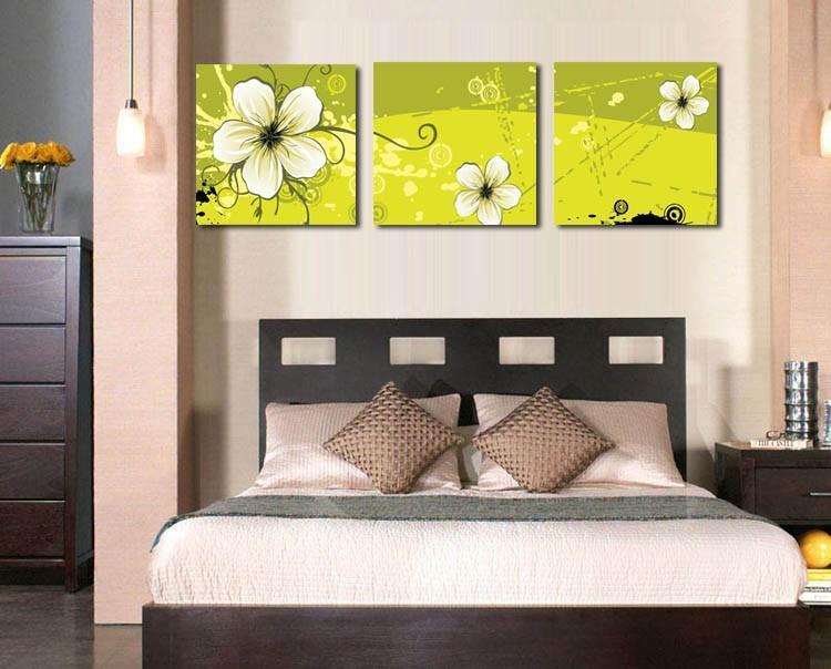 3 Stück Wand-Kunst-Bilder Blumen-Gelb-Malerei auf Leinwand gedruckt für Schlafzimmer Wohnzimmer-Dekoration