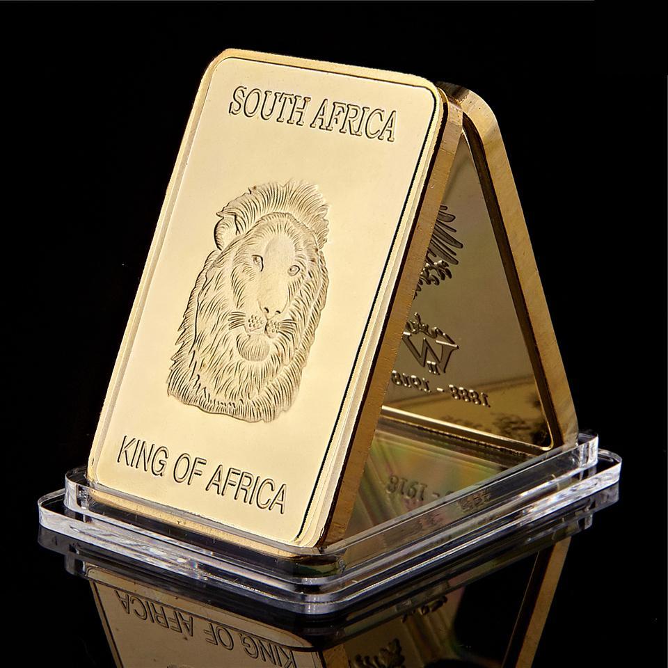 Goldmünze Südafrika Lion King Of Africa Krügerrand 1 Unze Gold überzogenes Souvenir Münze Art Craft Eisen Plaqué Bar