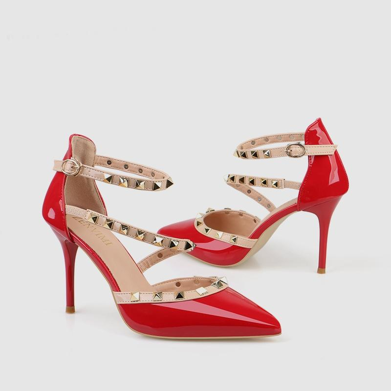 Sıcak Satış-Büyük Boy Kadın Stiletto Ayakkabı Bayanlar PU Yüksek Topuklu Lace Up Sivri Burun Damızlık Pompaları Euro Basit Seksi Bayan Elbise Ayakkabı
