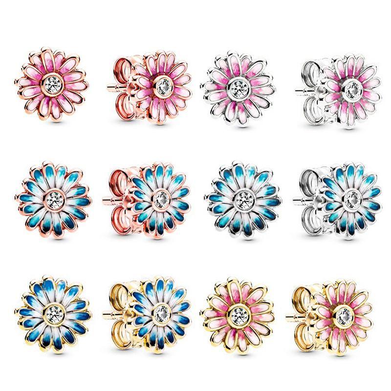TOGORY Silber plattiert Rosa Gänseblümchen-Blumen-Bolzen-Ohrringe für Frauen Marke Ohrring als Liebhaber Paar Hochzeit Mode Schmuck Geschenk