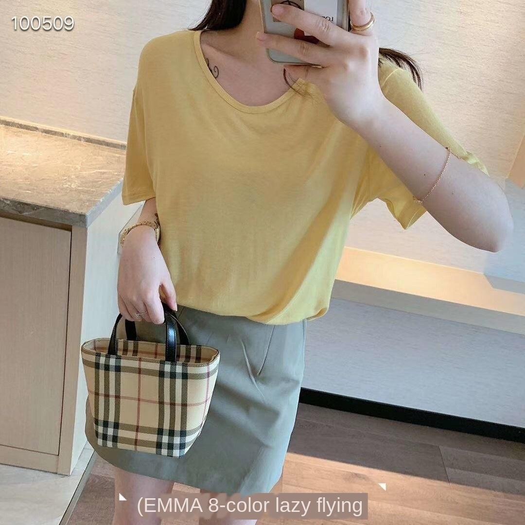 Été 2020 à manches courtes lâche couleur unie des femmes T-shirt EMMA EMMA T-shirt Lazy 8 couleurs casual top tout match